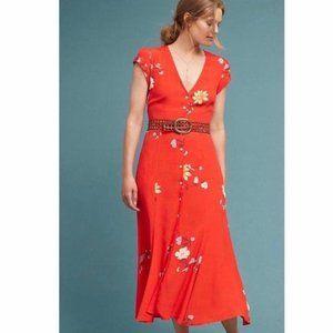 Capulet Orange Floral Button Down Midi Dress